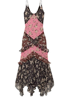 Michael Kors Collection Woman Paneled Ruffled Floral-print Silk-chiffon And Crepe Maxi Dress Black