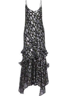 Michael Kors Collection Woman Ruffled Snake-print Fil Coupé Silk-blend Chiffon Maxi Dress Black