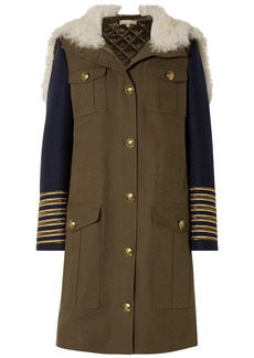 Michael Kors Collection Woman Shearling-trimmed Felt-paneled Cotton-gabardine Hooded Coat Army Green