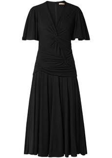Michael Kors Collection Woman Twisted Ruched Jersey Midi Dress Black