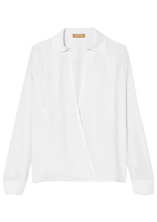 Michael Kors Collection Woman Wrap-effect Silk Crepe De Chine Top White