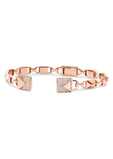 Michael Kors Mercer Link Semi-Precious Sterling Silver Center Back Hinged Cuff in 14K Gold-Plated Sterling Silver, 14K Rose Gold-Plated Sterling Silver or Solid Sterling Silver