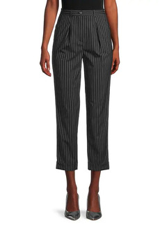 Michael Kors Pleat-Front Pinstripe Cropped Trousers