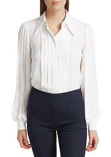 Michael Kors Pleated Puff-Sleeve Silk Blouse