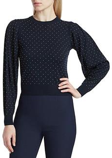 Michael Kors Puff-Sleeve Studded Merino Wool Sweater
