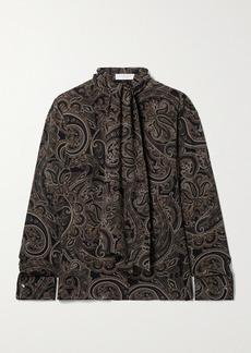 Michael Kors Pussy-bow Paisley-print Silk-georgette Blouse