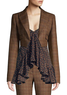 Michael Kors Spencer Cropped Plaid Wool Jacket