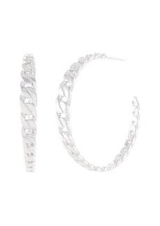 Michael Kors Statement Link Sterling Silver Frozen Curb Chain Hoop Earrings