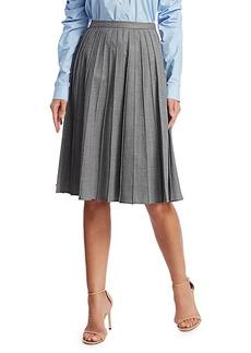 Michael Kors Stretch Virgin Wool Pleated Midi Skirt