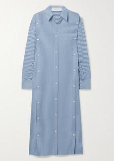 Michael Kors Striped Silk-georgette Midi Shirt Dress