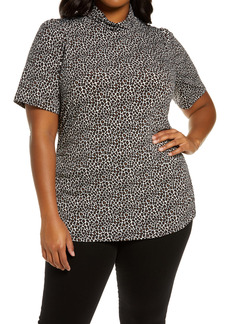MICHAEL Michael Kors Animal Print Turtleneck Short Sleeve Top (Plus Size)