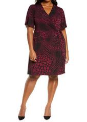 MICHAEL Michael Kors Animal Print Wrap Front A-Line Dress (Plus Size)
