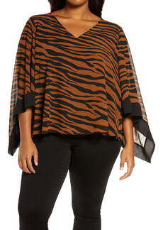 MICHAEL Michael Kors Animal Stripe Poncho Top (Plus Size)