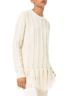 MICHAEL Michael Kors Cashmere Embroidered Fringe Sweater