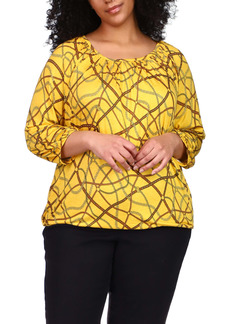 MICHAEL Michael Kors Chain Print Peasant Jersey Top (Plus Size)