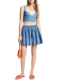 MICHAEL Michael Kors Chambray Tiered Mini Skirt