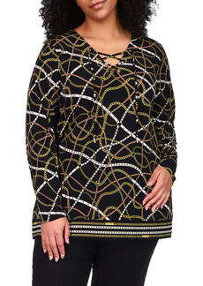 MICHAEL Michael Kors Lace-Up Neck Chain Print Jersey Tunic (Plus Size)