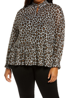 MICHAEL Michael Kors Metallic Thread Animal Print Ruffle Top (Plus Size)