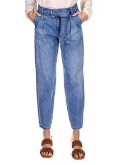 MICHAEL Michael Kors Pleated Belted Denim Pants in Vintage Denim Wash