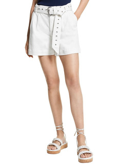 MICHAEL Michael Kors Pleated Belted Jean Shorts in White