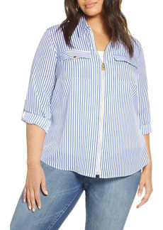 MICHAEL Michael Kors Railroad Stripe Zip Front Shirt (Plus Size)
