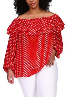 MICHAEL Michael Kors Ruffle Off the Shoulder Polka Dot Crepe Blouse (Plus Size)