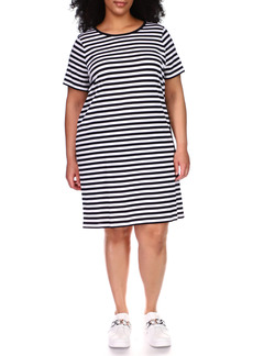 MICHAEL Michael Kors Stripe T-Shirt Dress (Plus Size)