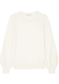 Michael Michael Kors Woman Gathered Knitted Sweater Ivory