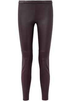 Michael Michael Kors Woman Stretch-leather Leggings Merlot