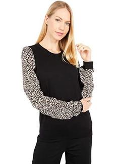 MICHAEL Michael Kors Mixed Media Sleeve Sweater