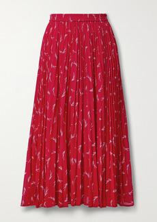 MICHAEL Michael Kors Pleated Printed Crepe Midi Skirt