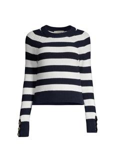 MICHAEL Michael Kors Stripe Button-Cuff Sweater