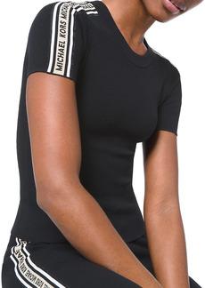MICHAEL Michael Kors Textured Logo Tape Short-Sleeve Sweater