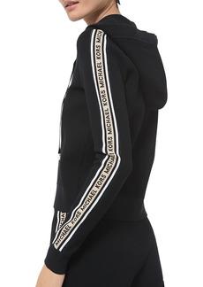 MICHAEL Michael Kors Textured Logo Zip-Up Hooded Sweater