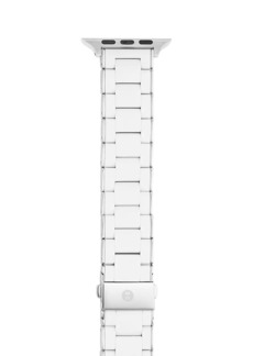 Michele Apple® Watch White Silicone-Wrapped Stainless Steel Bracelet Strap/38, 40, 42 & 44MM