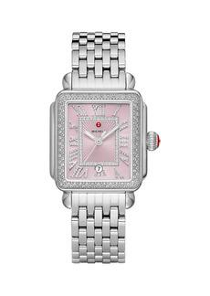 Michele Deco Madison Stainless Steel & Diamond Bracelet Watch