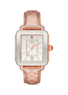 Michele Deco Sport Two-Tone Rose Goldtone Stainless Steel & Embossed Leather Strap Watch