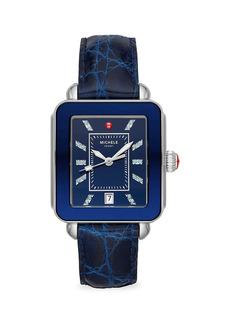Michele Deco Sport Two-Tone Stainless Steel, Topaz & Crocodile Strap Watch