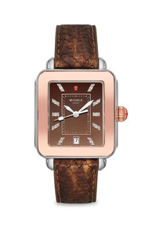 Michele Deco Sport Two-Tone Stainless Steel, Topaz & Python Strap Watch