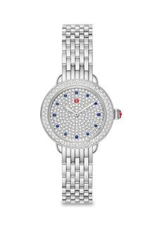Michele Serein Petite Stainless Steel, Diamond & Sapphire Bracelet Watch