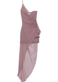 Michelle Mason Woman Asymmetric One-shoulder Layered Polka-dot Silk-chiffon Mini Dress Antique Rose
