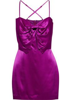 Michelle Mason Woman Bow-embellished Silk-charmeuse Mini Dress Violet