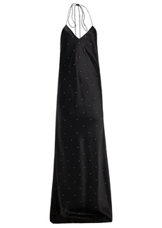 Michelle Mason Woman Crystal-embellished Silk-charmeuse Gown Black