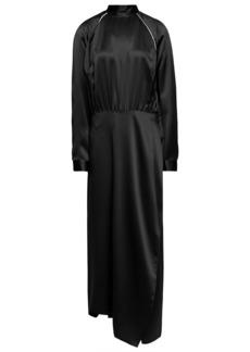 Michelle Mason Woman Crystal-trimmed Silk-charmeuse Midi Dress Midnight Blue