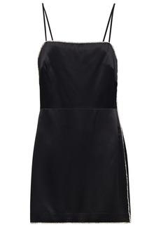 Michelle Mason Woman Crystal-trimmed Silk-charmeuse Mini Dress Black