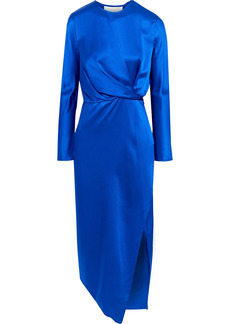 Michelle Mason Woman Draped Silk-charmeuse Midi Dress Royal Blue