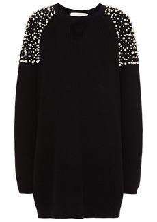 Michelle Mason Woman Faux Pearl-embellished Ribbed Cotton Mini Dress Black