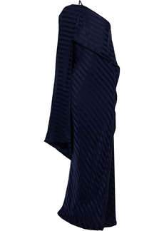 Michelle Mason Woman One-shoulder Layered Striped Silk-jacquard Gown Navy