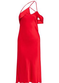 Michelle Mason Woman One-shoulder Open-back Draped Silk-charmeuse Midi Dress Red