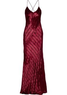 Michelle Mason Woman Open-back Devoré-velvet Gown Claret